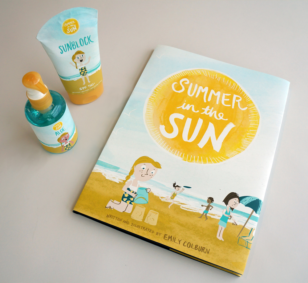 book cover, sunscreen and aloe design